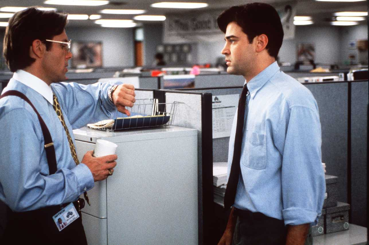 Gary Cole, left, as Bill Lumbergh and Ron Livingston as Peter Gibbons in Office Space.