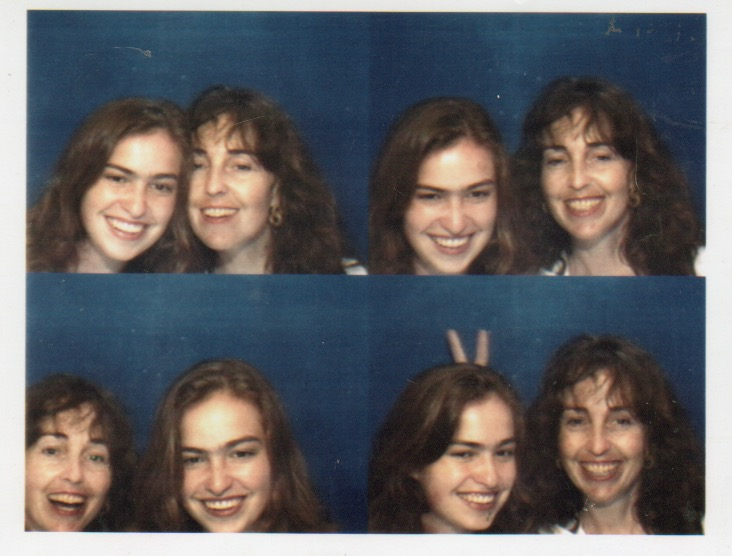 Chrisann Brennan with her daughter Lisa Brennan-Jobs in four photo-booth images from 2002.