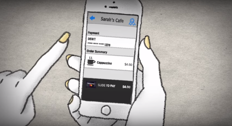 A scene from a MasterCard promo video from the launch of Qkr.