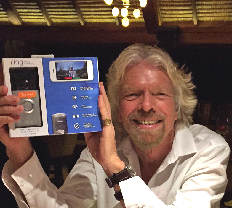 Richard Branson with the Ring doorbell.