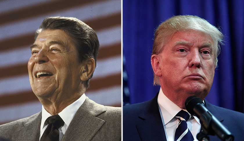 Ronald Reagan in 1984, left and Donald Trump in 2015.