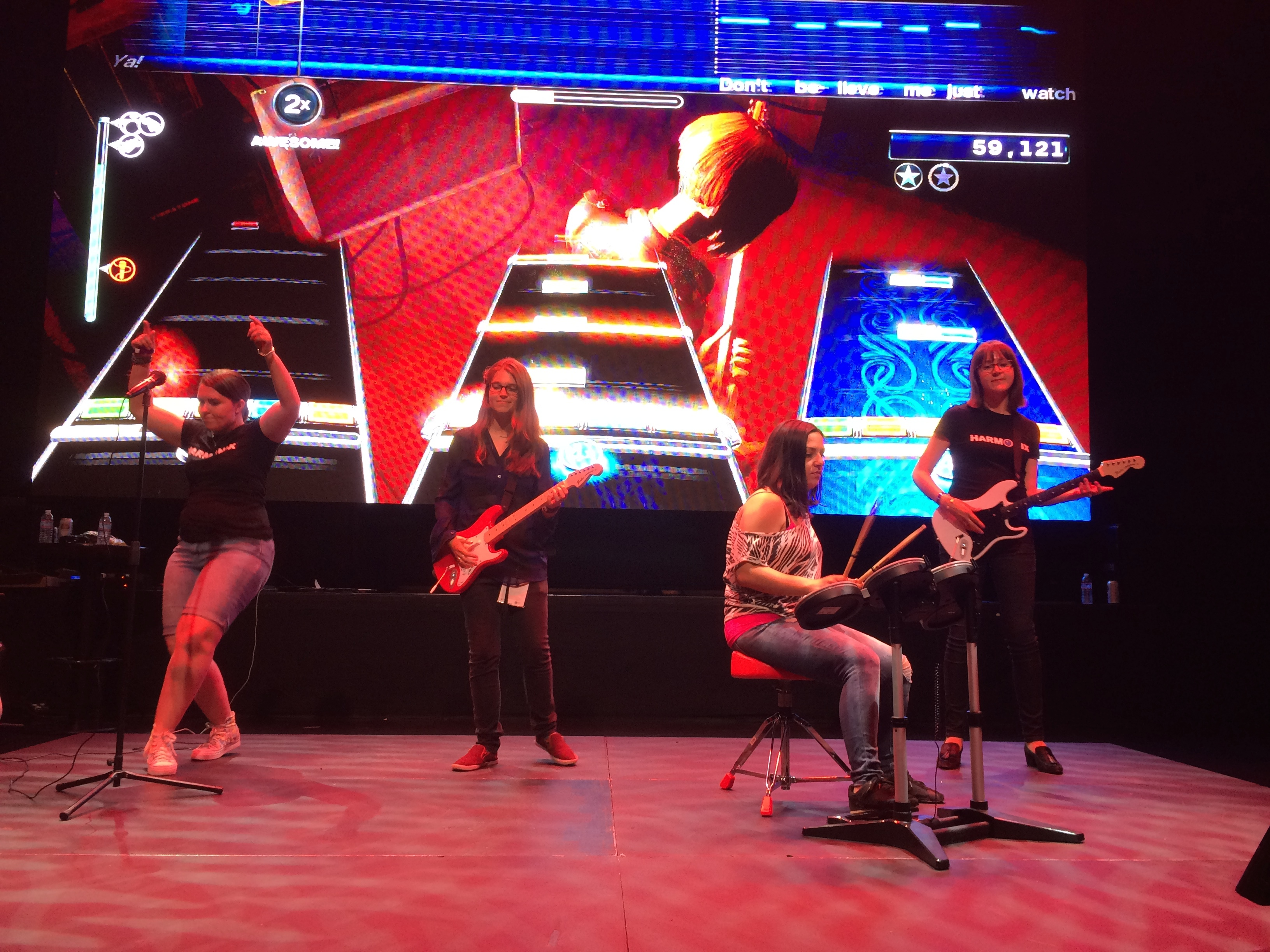 Members of the Rock Band 4 development team at Harmonix rock out at E3 2015.