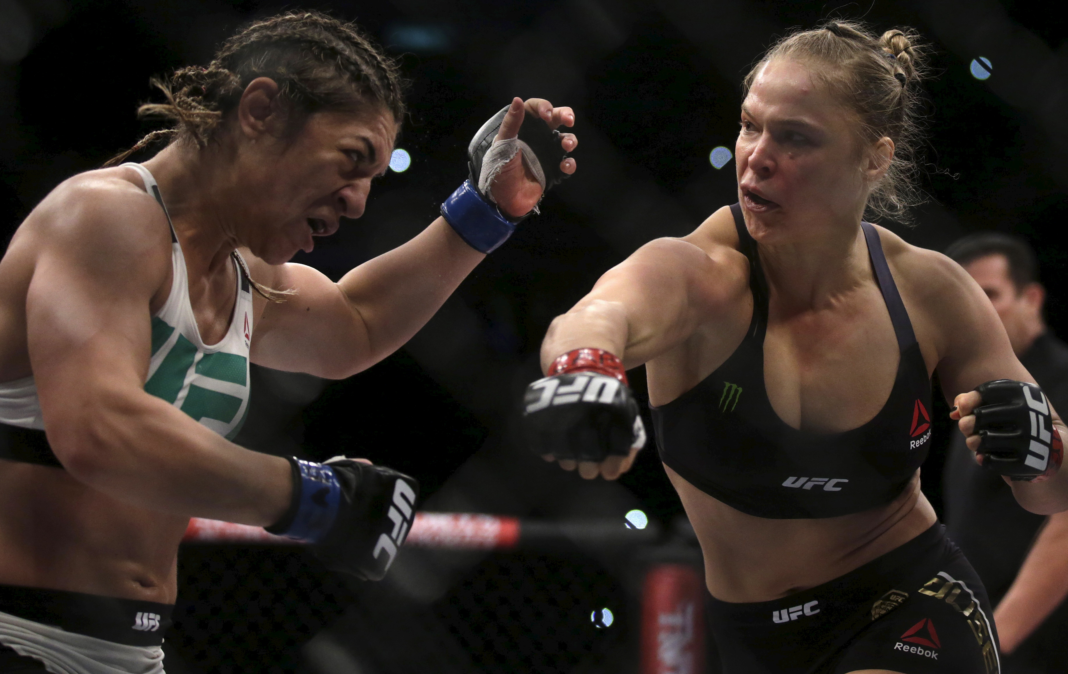 Rousey of U.S fights with Correia of Brazil during their UFC match in Rio de Janeiro