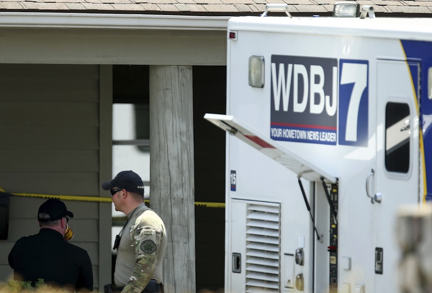The WDBJ7 live truck is seen outside of the Bridgewater Plaza in Moneta