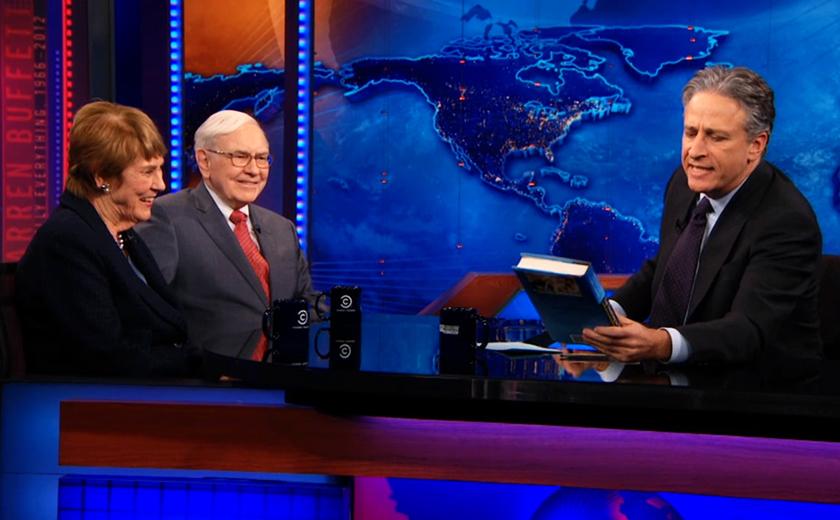 Carol Loomis and Warren Buffett on The Daily Show with Jon Stewart on November 27, 2012.
