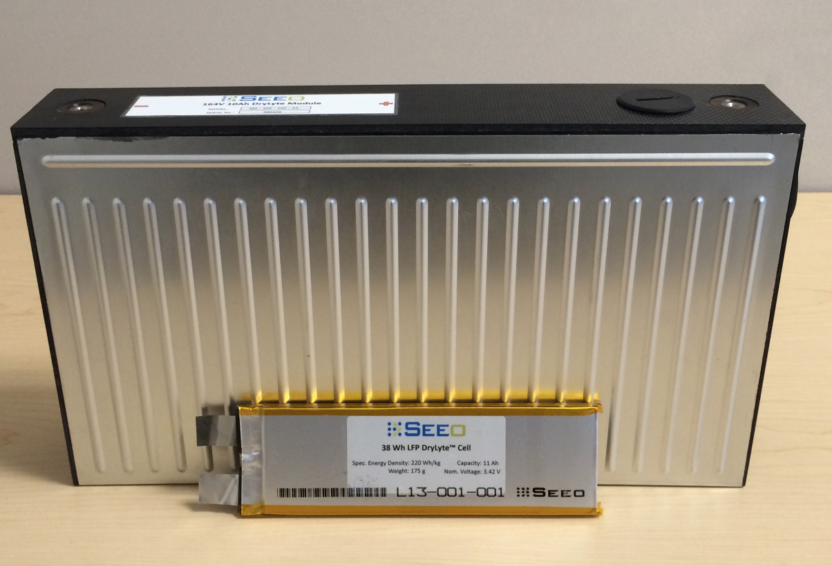 A battery made by startup Seeo, which is being acquired by auto parts giant Bosch.