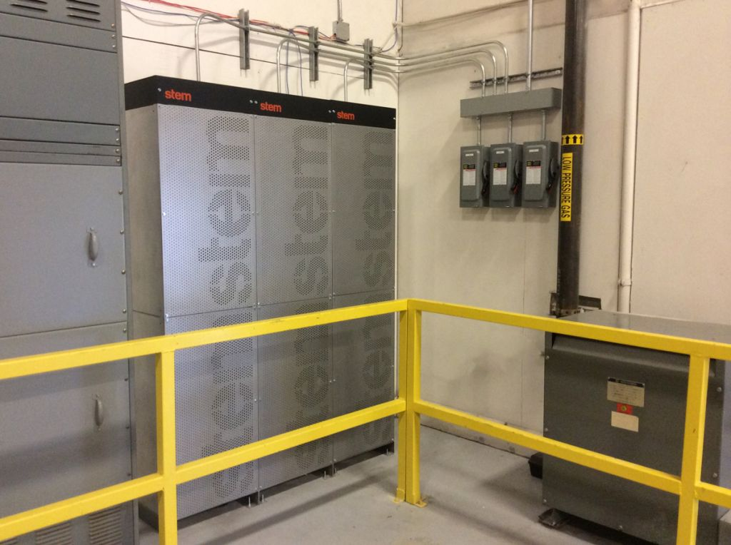 Stem's battery banks use data from the building, utility and other sources to move the building on and off of battery power.