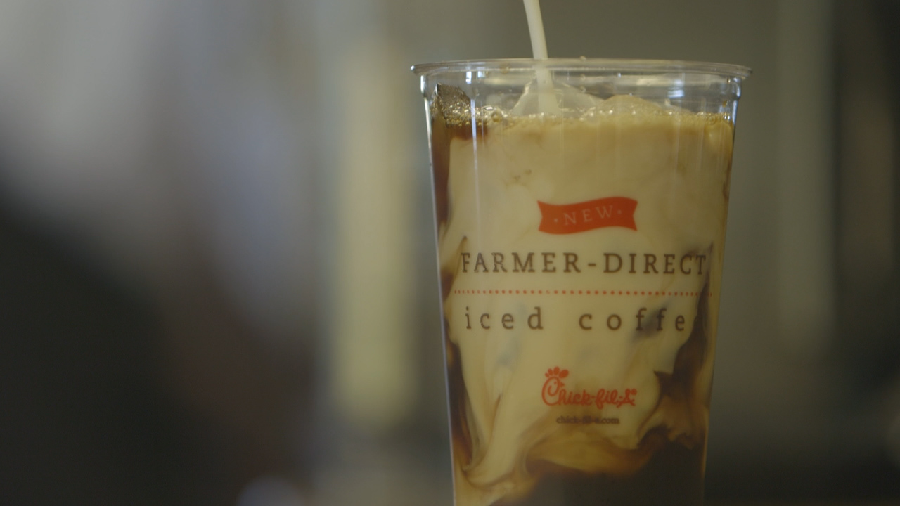 A co-branded cup of Chick-fil-A's Thrive Farmers cold brew coffee.