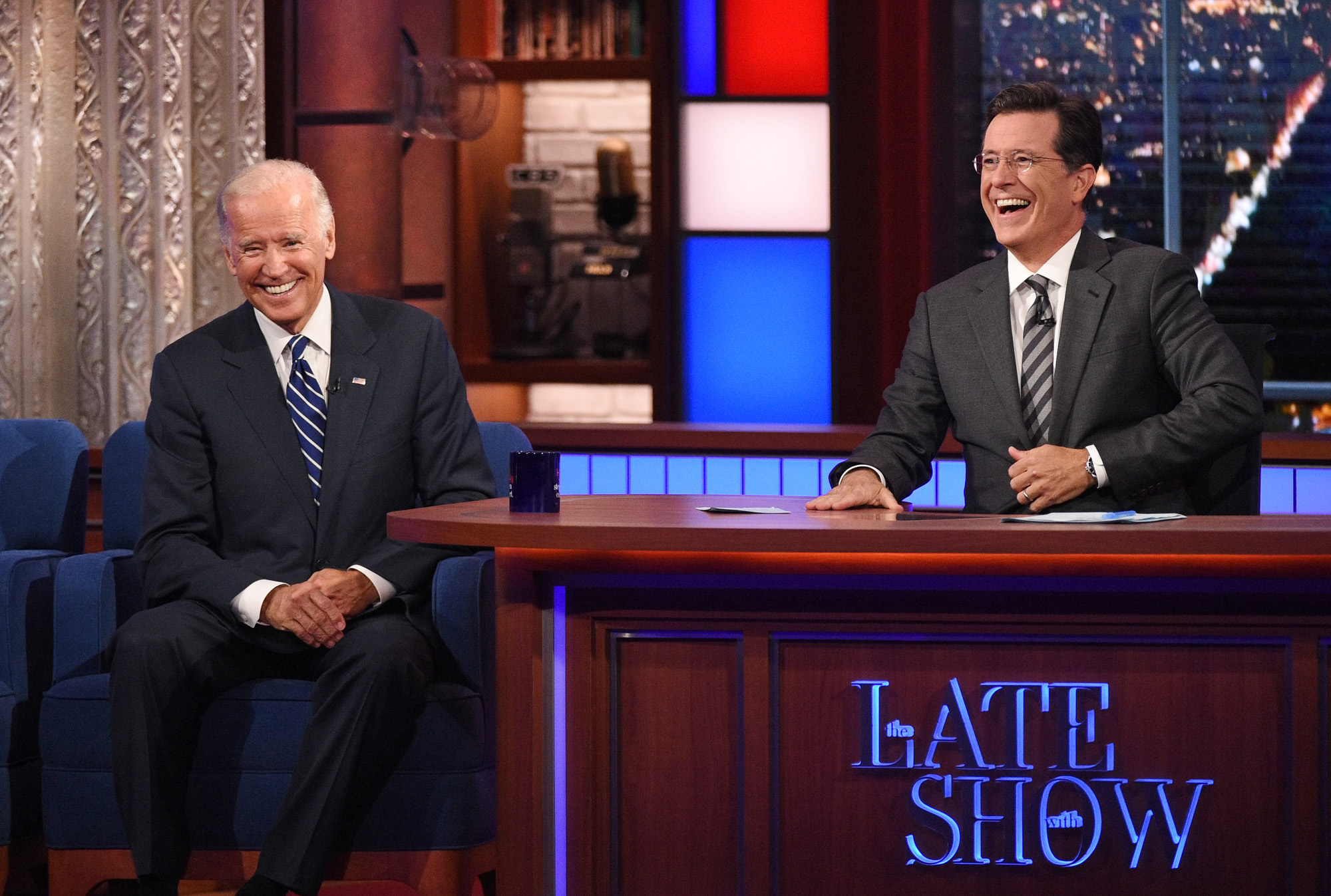 Stephen talks with Vice President Joe Biden, on The Late Show with Stephen Colbert, Thursday Sept 10, 2015 on the CBS Television Network. Photo: Jeffrey R. Staab/CBS ©2015 CBS Broadcasting Inc. All Rights Reserved