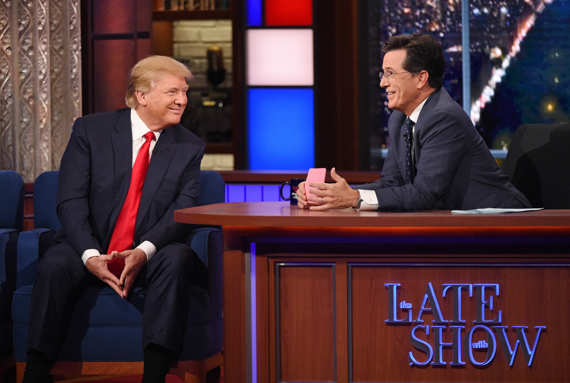 Donald Trump talks about his US Presidential campaign  on The Late Show with Stephen Colbert, Tuesday Sept. 22, 2015 on the CBS Television Network. Photo: Jeffrey R. Staab/CBS ©2015 CBS Broadcasting Inc. All Rights Reserved