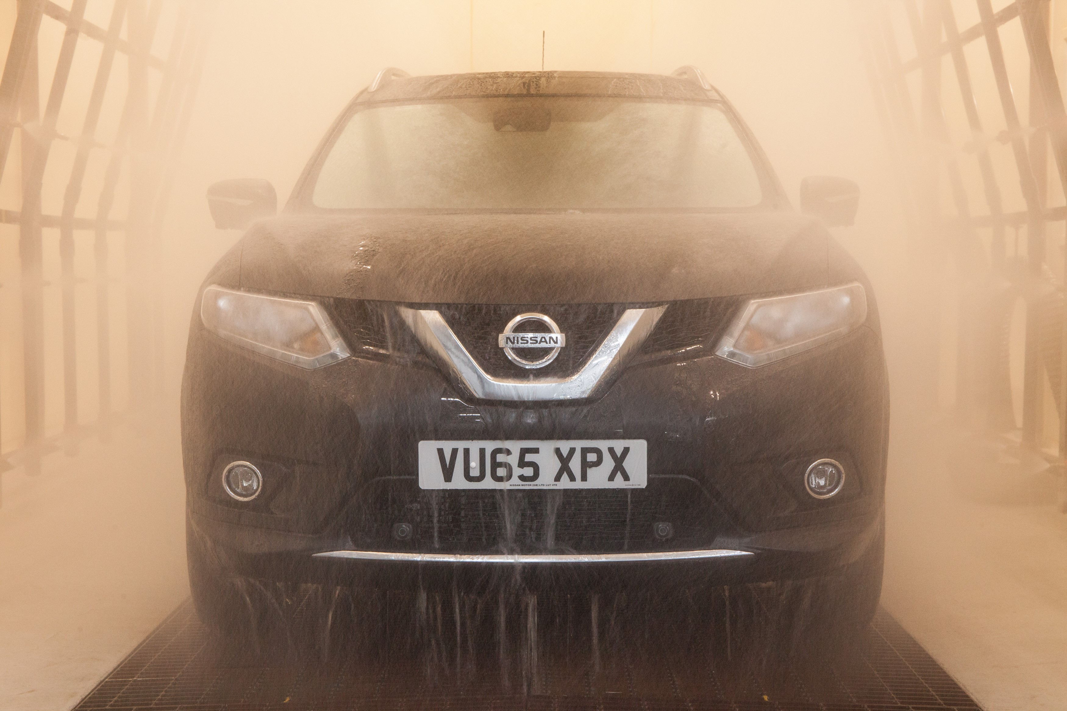 Nissan sprays 4,000mm of water, per hour onto its vehicles in testing to ensure windows are watertight and seals are sleet-proof.