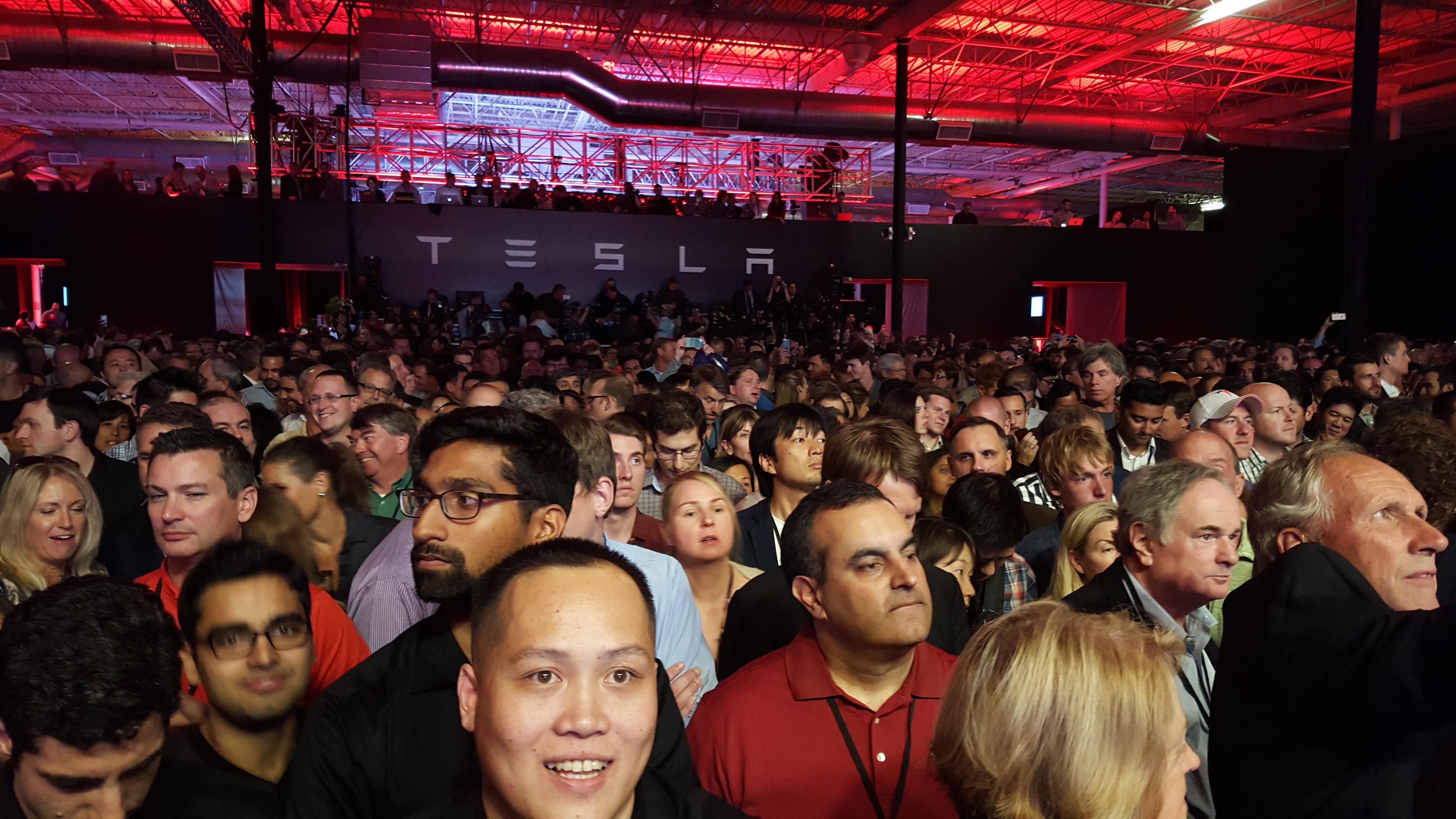 Crowd to watch Tesla's Model X.