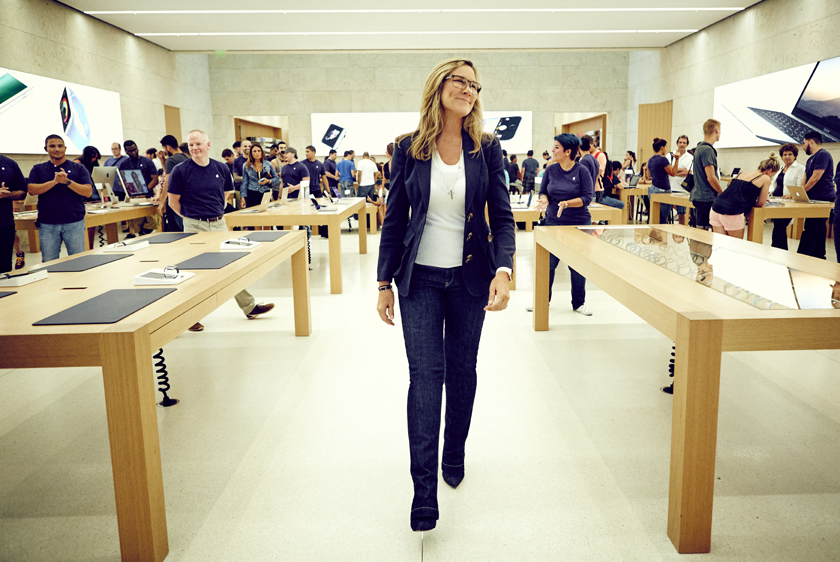 Angela Ahrendts leaving an Apple store in Miami. 2015