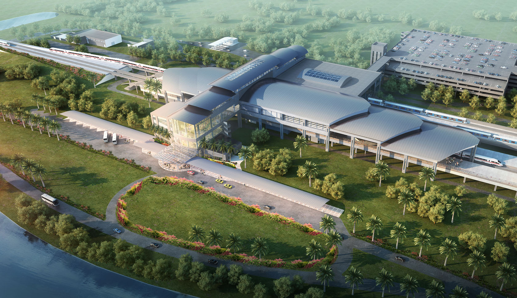 A rendering of a potential railway station to be built as part of All Aboard Florida's passenger rail