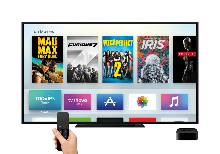 Apple's latest set-top box, the 2015 Apple TV.