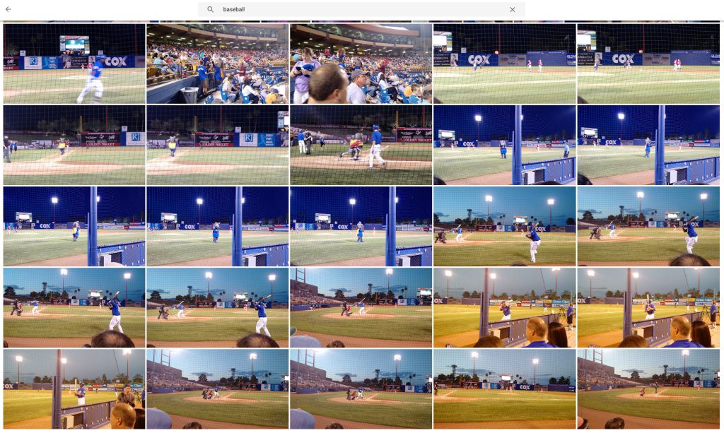 "When I search Google Photos for ""baseball."""