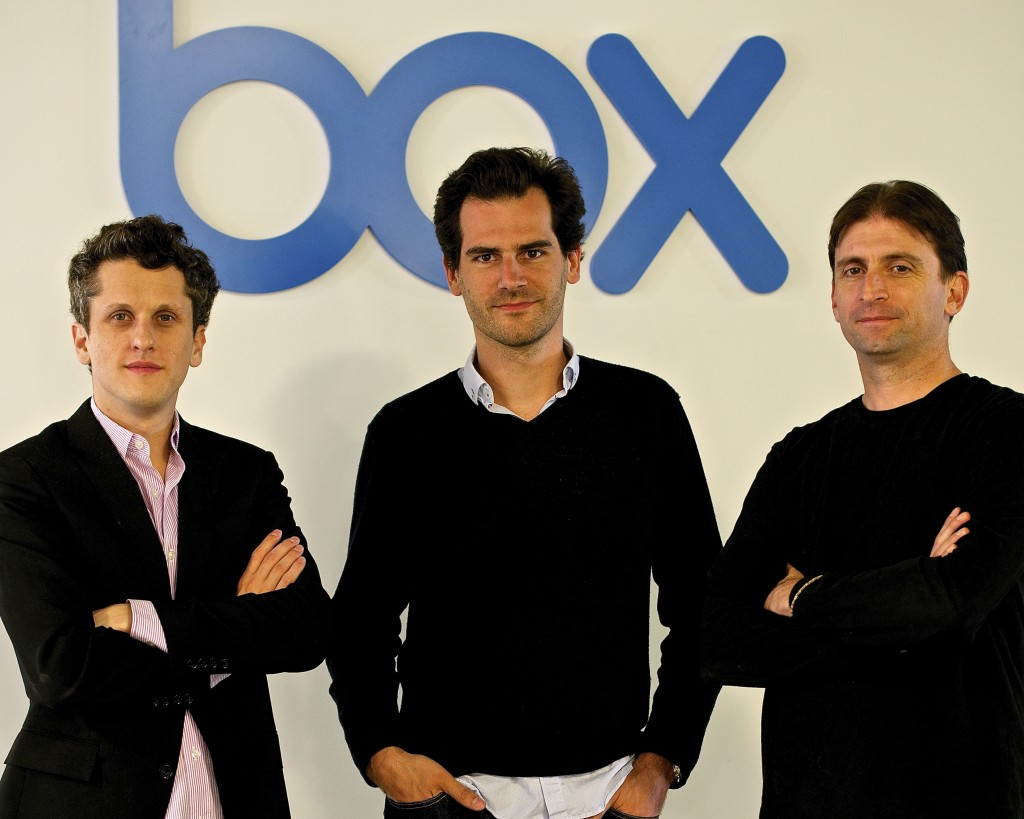 Sam Schillace (R), along with Box CEO Aaron Levie (L) and Head of Mobile Martin Destagnol (C).