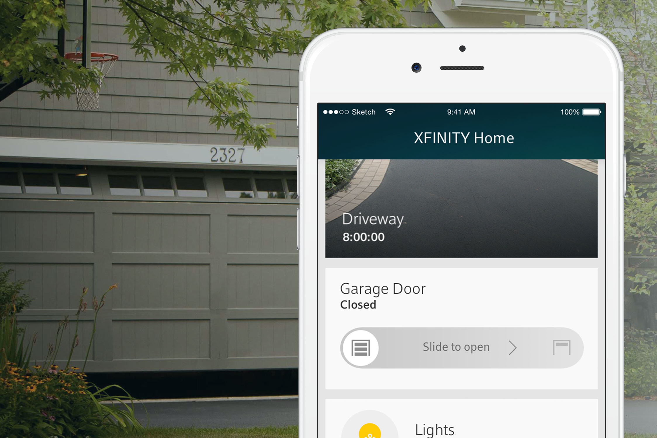 The Chamberlain MyQ on the Xfinity Home app.