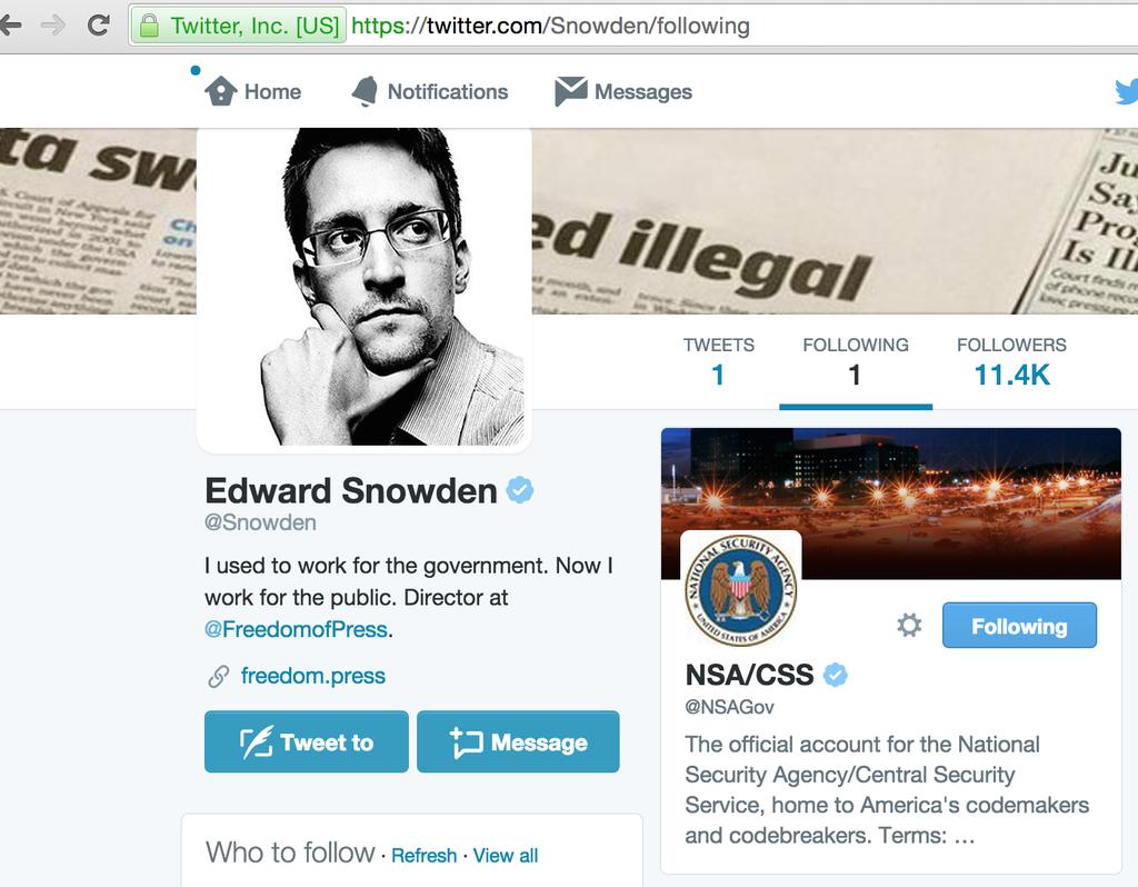 Edward Snowden's Twitter profile.