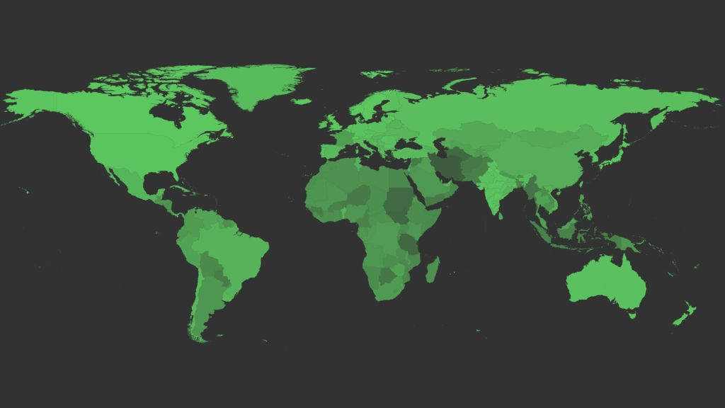 Facebook's world map of video playback. The gradation shows the different levels of playback success rates. A lighter shade means better video playback.