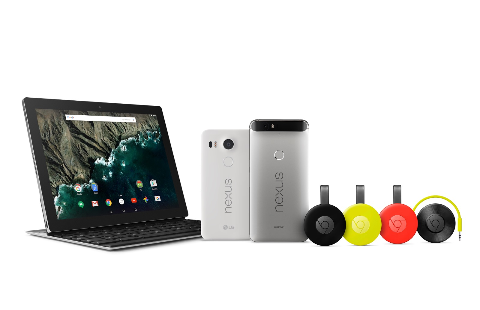Left to right:  Google's Pixel C, Nexus 5X, Nexus 6P, Chromecast, and Chromecast Audio.