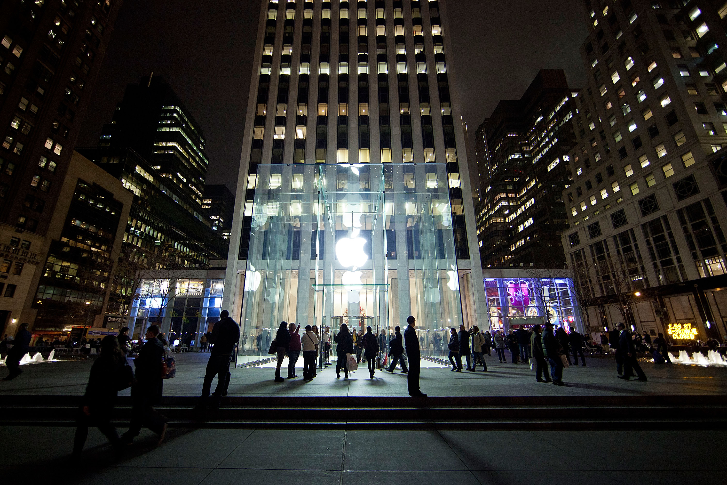 A general view of the exterior of the Fifth Avenue Apple Store in New York City.