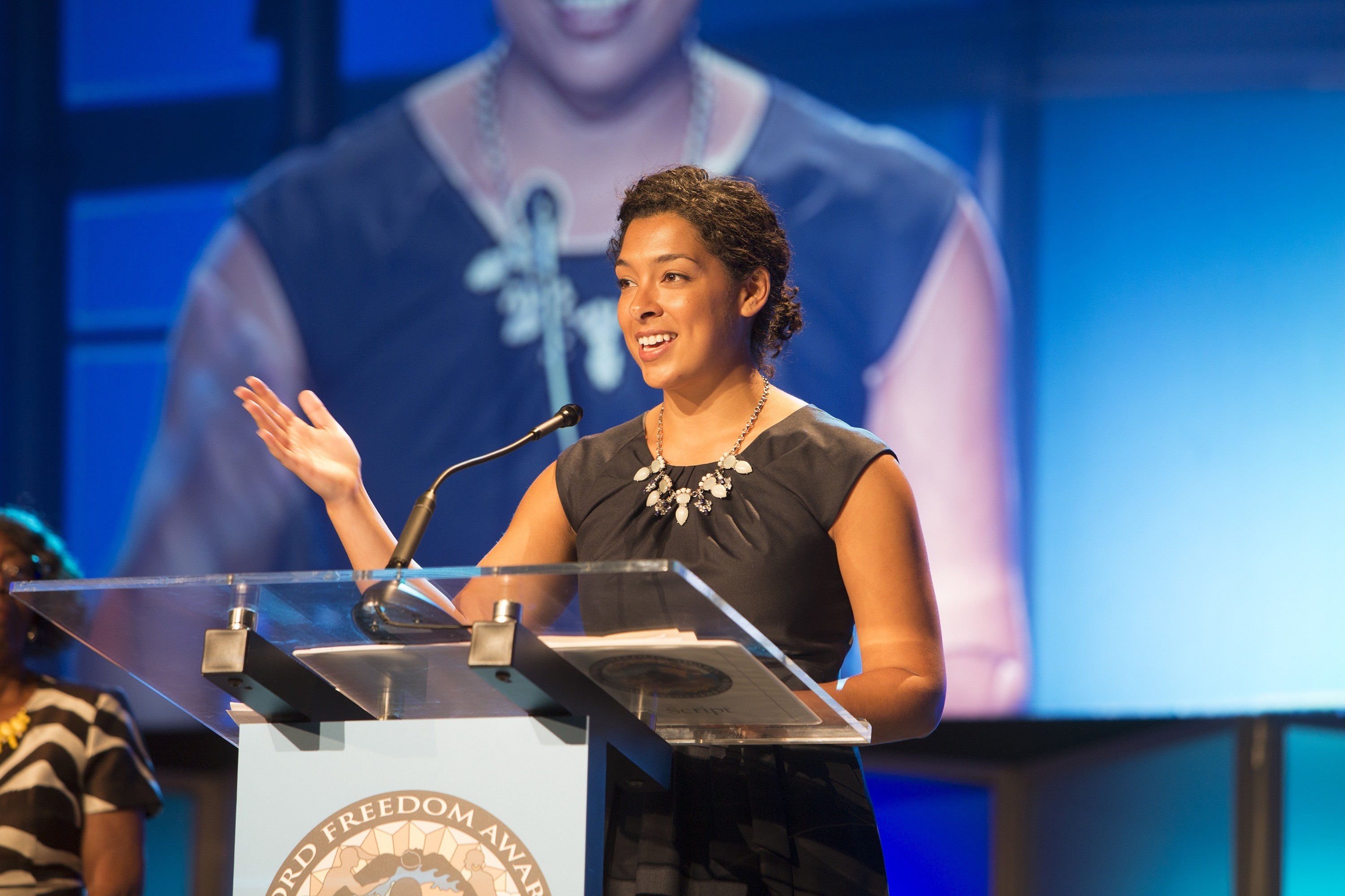 Founder and CEO of CODE2040 Laura Weidman Powers speaks at the 17th Annual Ford Freedom Awards on May 5, 2015.