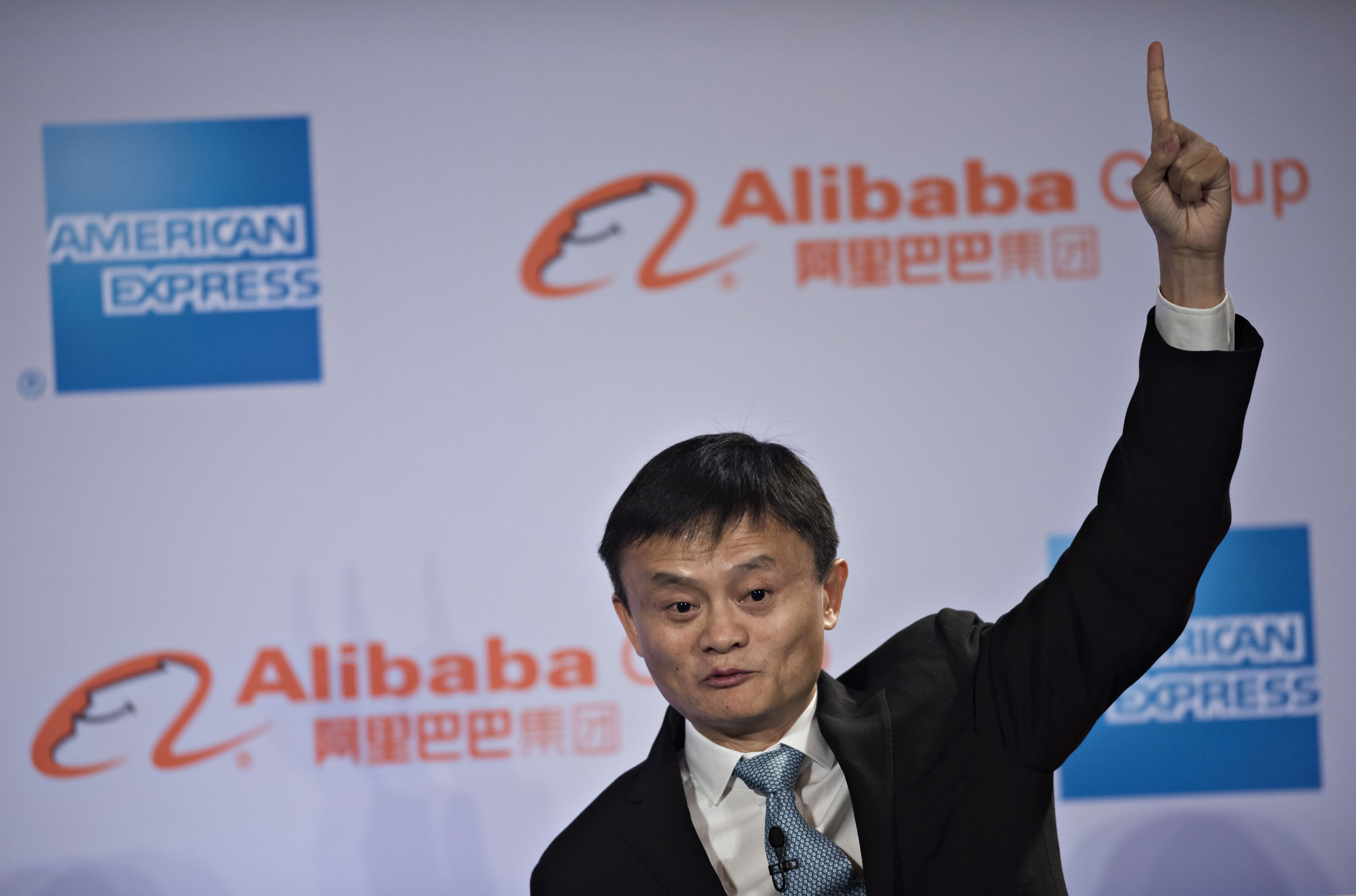 Billionaire Jack Ma, chairman of Alibaba Group Holding Ltd., speaks during an event in Chicago, Illinois, U.S., on Wednesday, June 10, 2015. Alibaba Group Holding Ltd.Õs entry into the U.S. runs through small businesses, the same path the online marketplace took in China, Ma said. Photographer: Daniel Acker/Bloomberg *** Local Caption *** Jack Ma