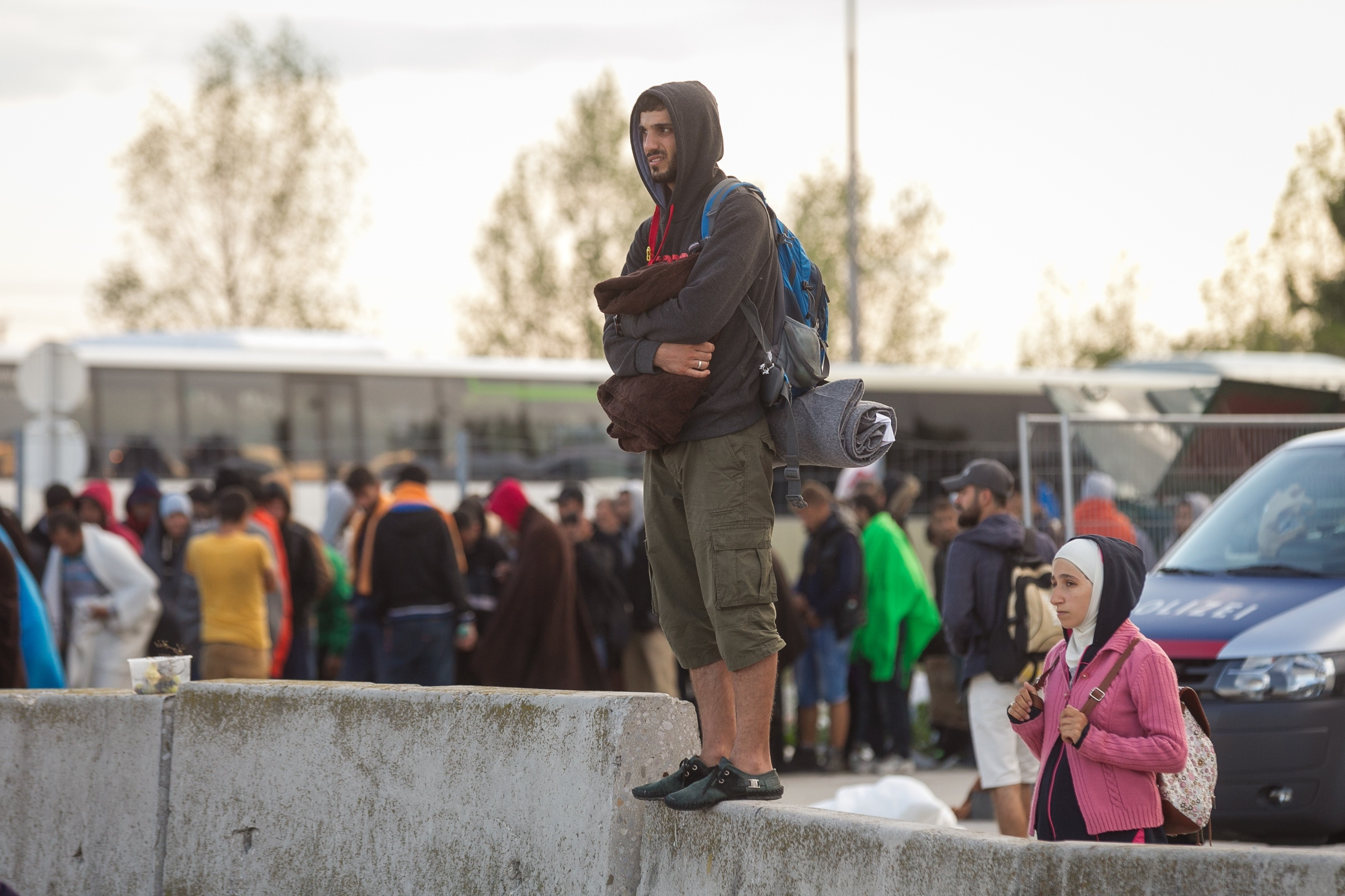 Refugees waiting to be transferred in Austria