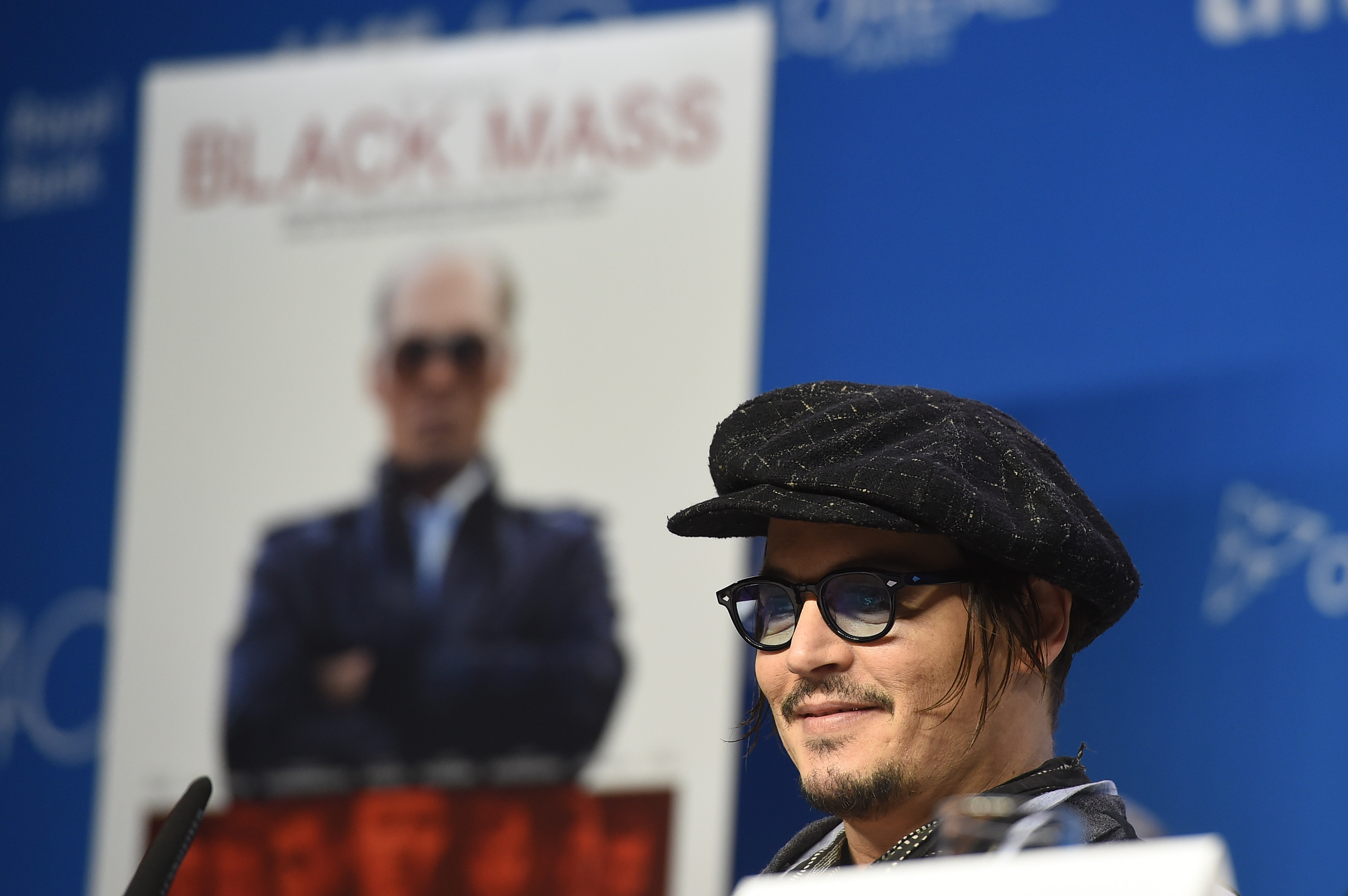 "speaks onstage during the ""Black Mass"" press conference at the 2015 Toronto International Film Festival at TIFF Bell Lightbox on September 14, 2015 in Toronto, Canada."