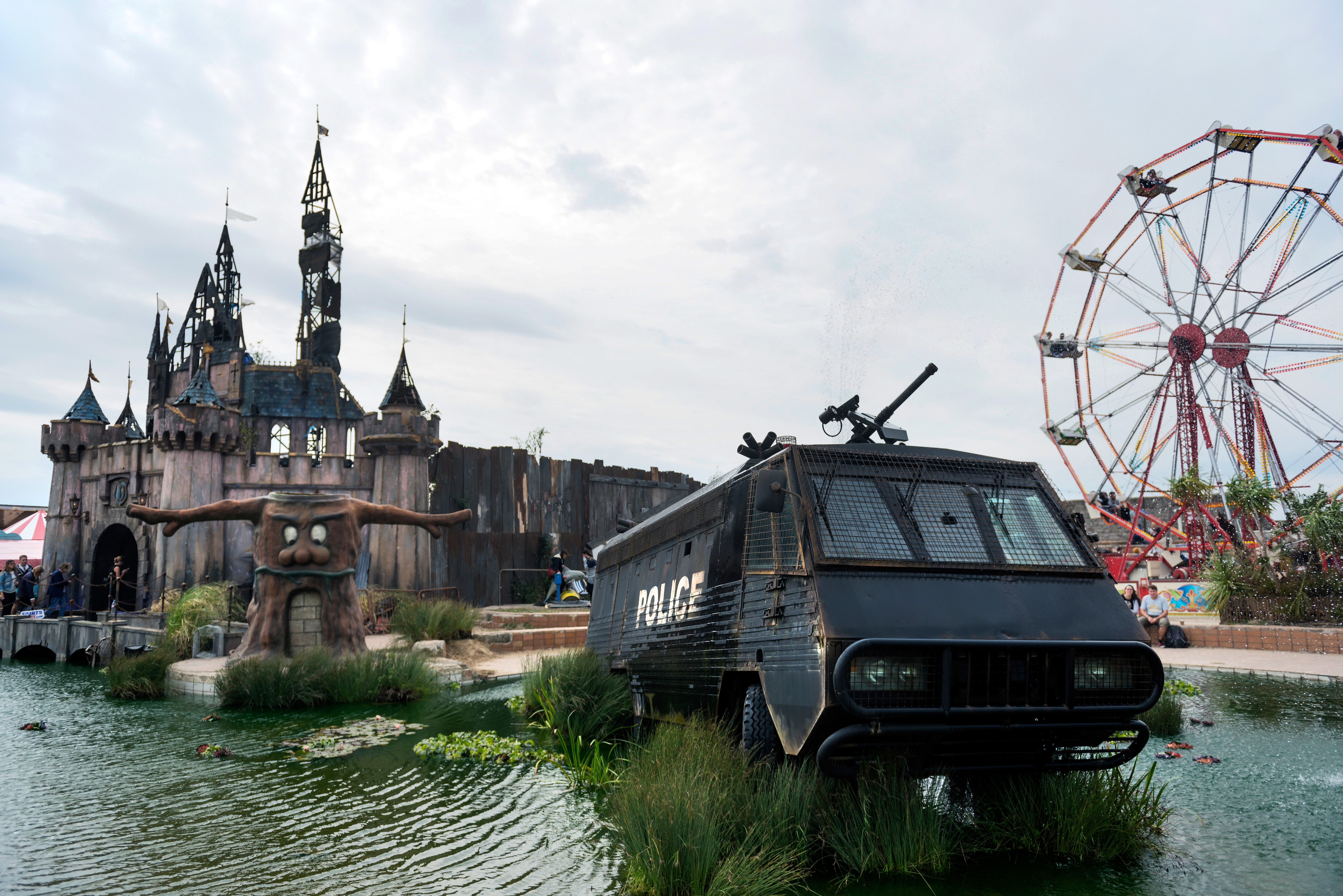 at Banksy's Dismaland on September 10, 2015 in Weston-Super-Mare, England.