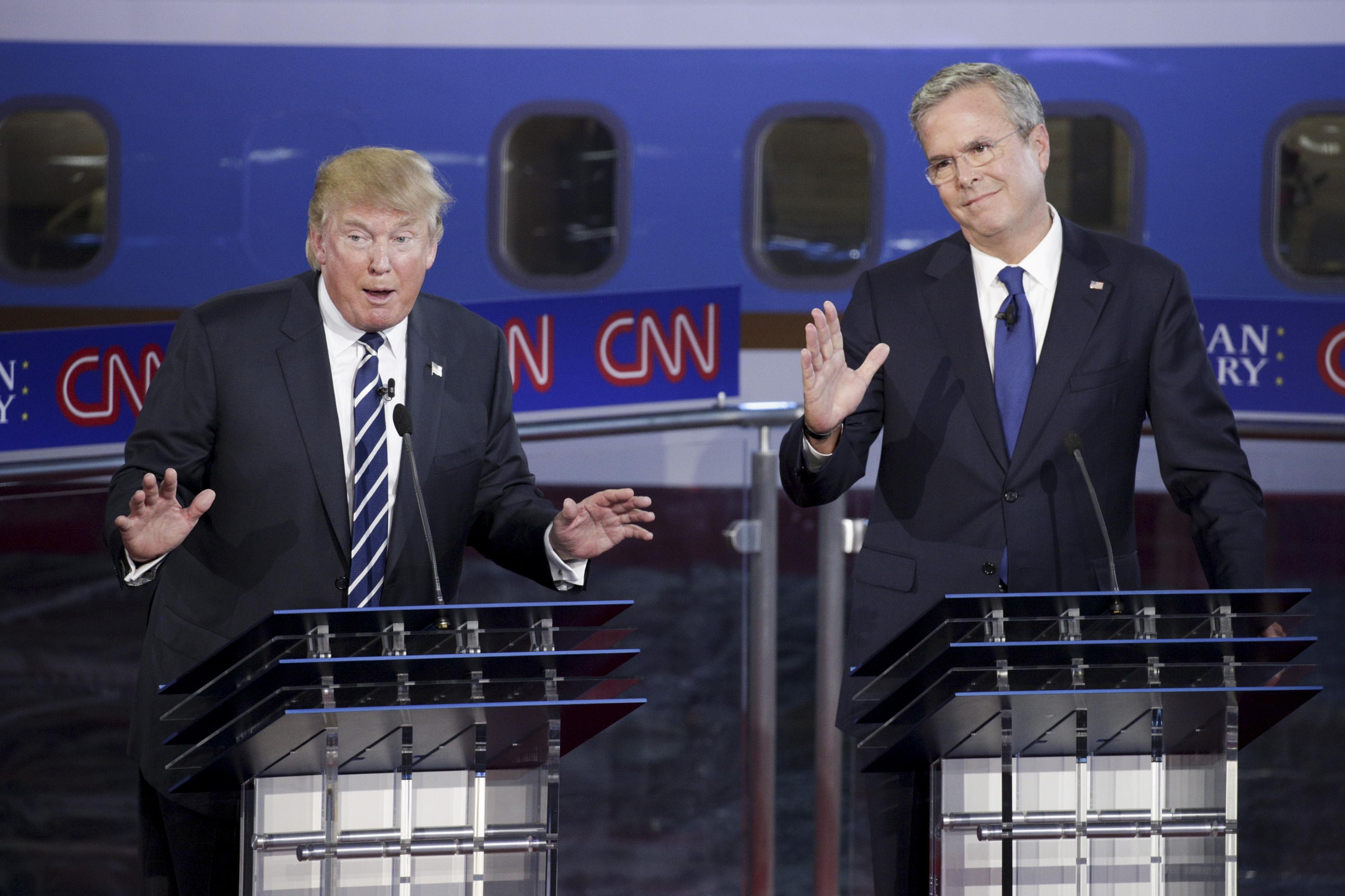 Donald Trump and Jeb Bush at CNN's Republican presidential debate in September