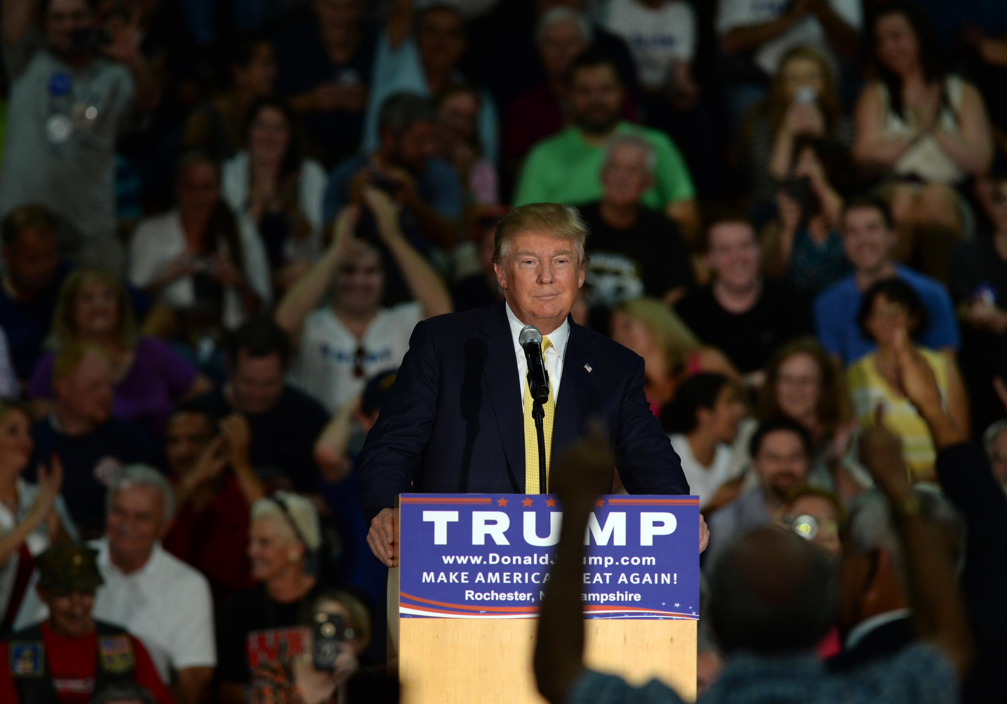 ROCHESTER, NH - SEPTEMBER 17: Republican Presidential candidate Donald Trump speaks during a town hall event at Rochester Recreational Arena September, 2015 in Rochester, New Hampshire. Trump spent the day campaigning in New Hampshire following the second Republican presidential debate. (Photo by Darren McCollester/Getty Images) *** Local Caption *** Donald Trump