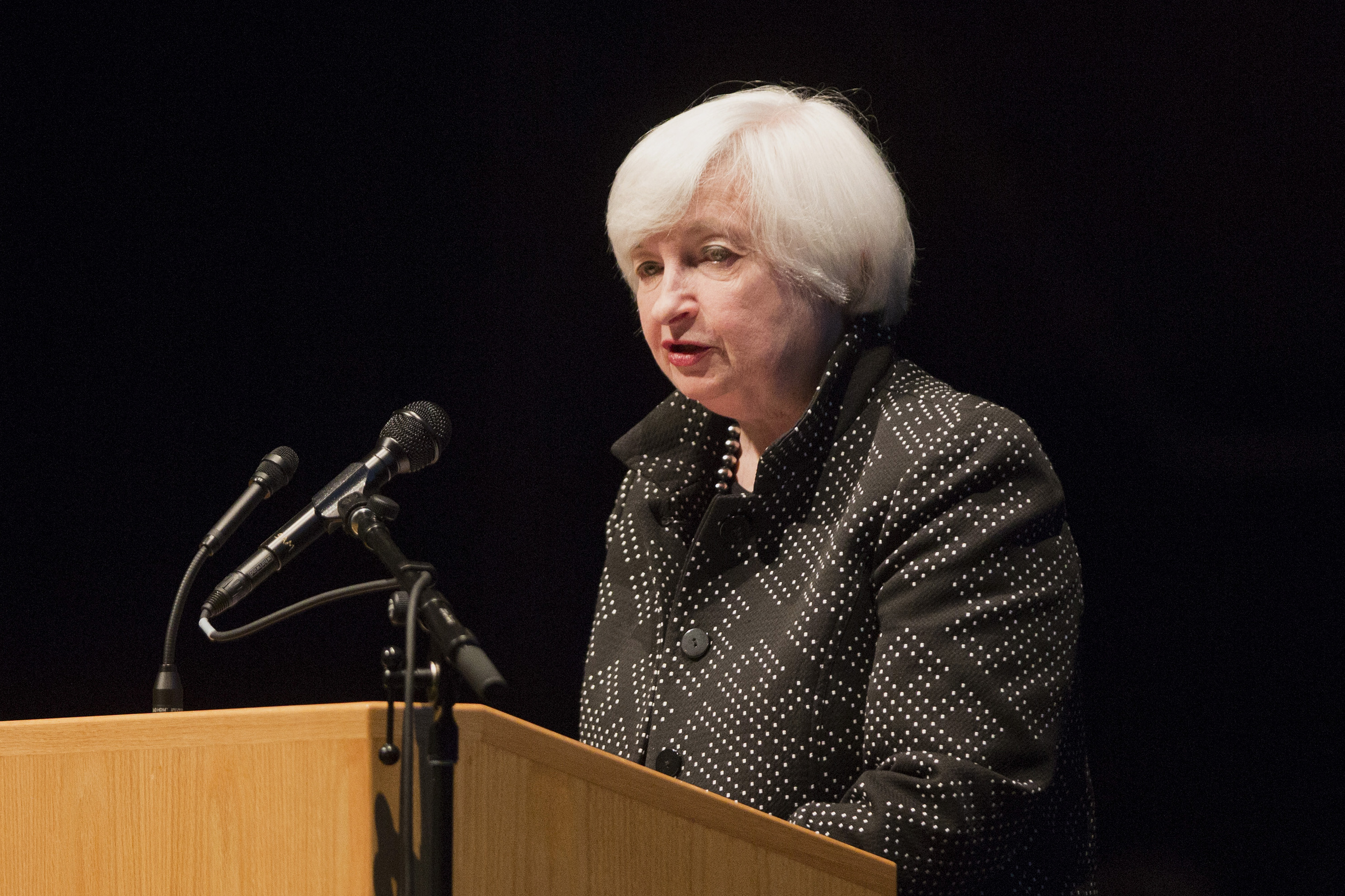 Janet Yellen, chair of the U.S. Federal Reserve, speaks during the annual Philip Gamble Memorial Lecture at the University of Massachusetts Amherst in Amherst, Massachusetts, U.S., on Thursday, Sept. 24, 2015. Photographer: Scott Eisen/Bloomberg *** Local Caption *** Janet Yellen