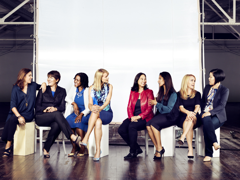 Members of the latest generation of high-powered Google alumnae, photographed in San Francisco in August. L to R: Claire Hughes Johnson COO, Stripe; Francoise Casals Brougher, Global Business Lead, Square; Stacy Brown- Philpot COO, TaskRabbit; Katie Stanton VP Global Media, Twitter; Natalie Fair Head of Finance, Pinterest; Sukhinder Singh Cassidy CEO, Joyus; April Underwood Head of Platform, Slack; Amy Chang CEO, Accompany