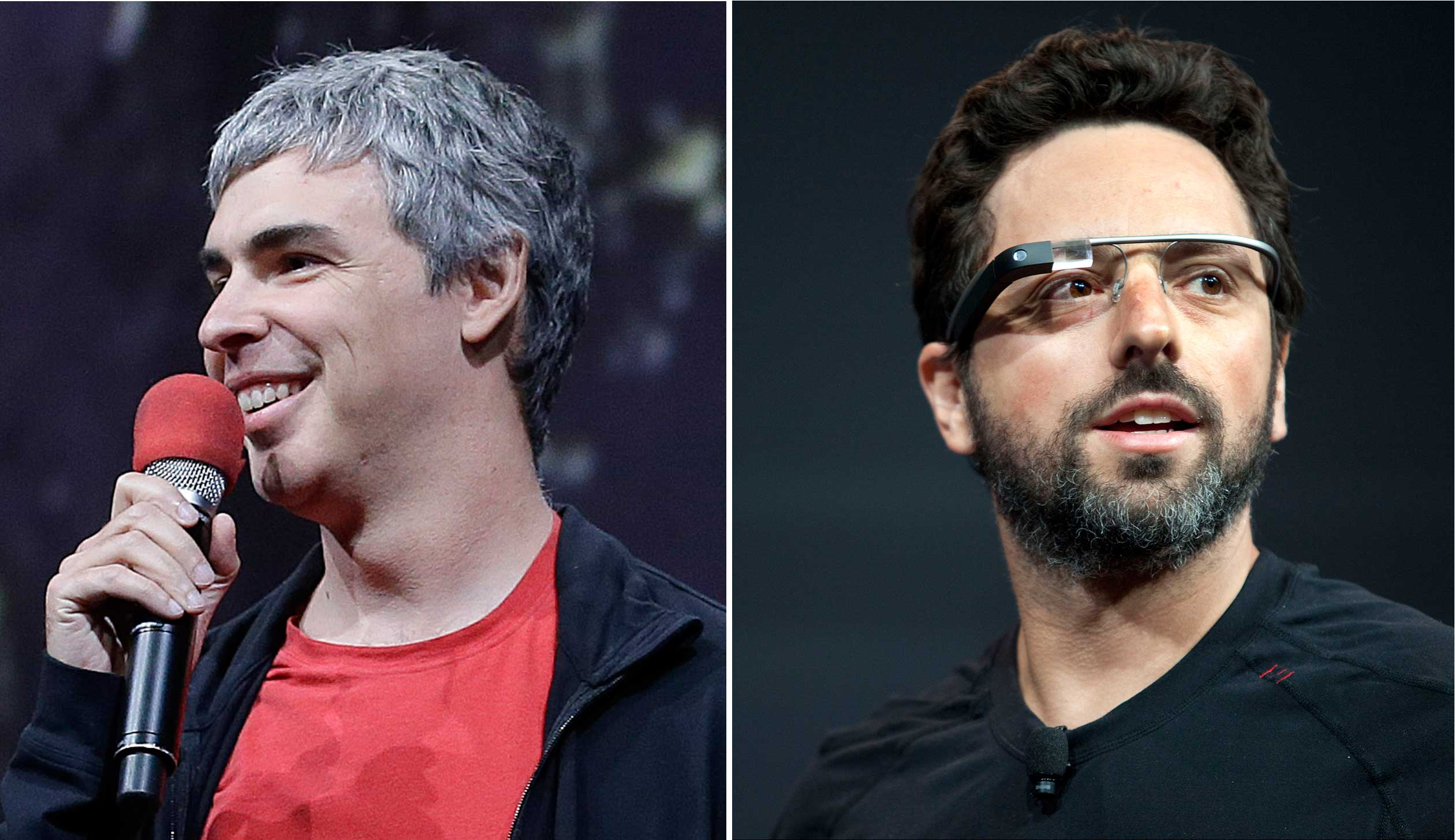 Google co-founders Larry Page, left, and Sergey Brin.