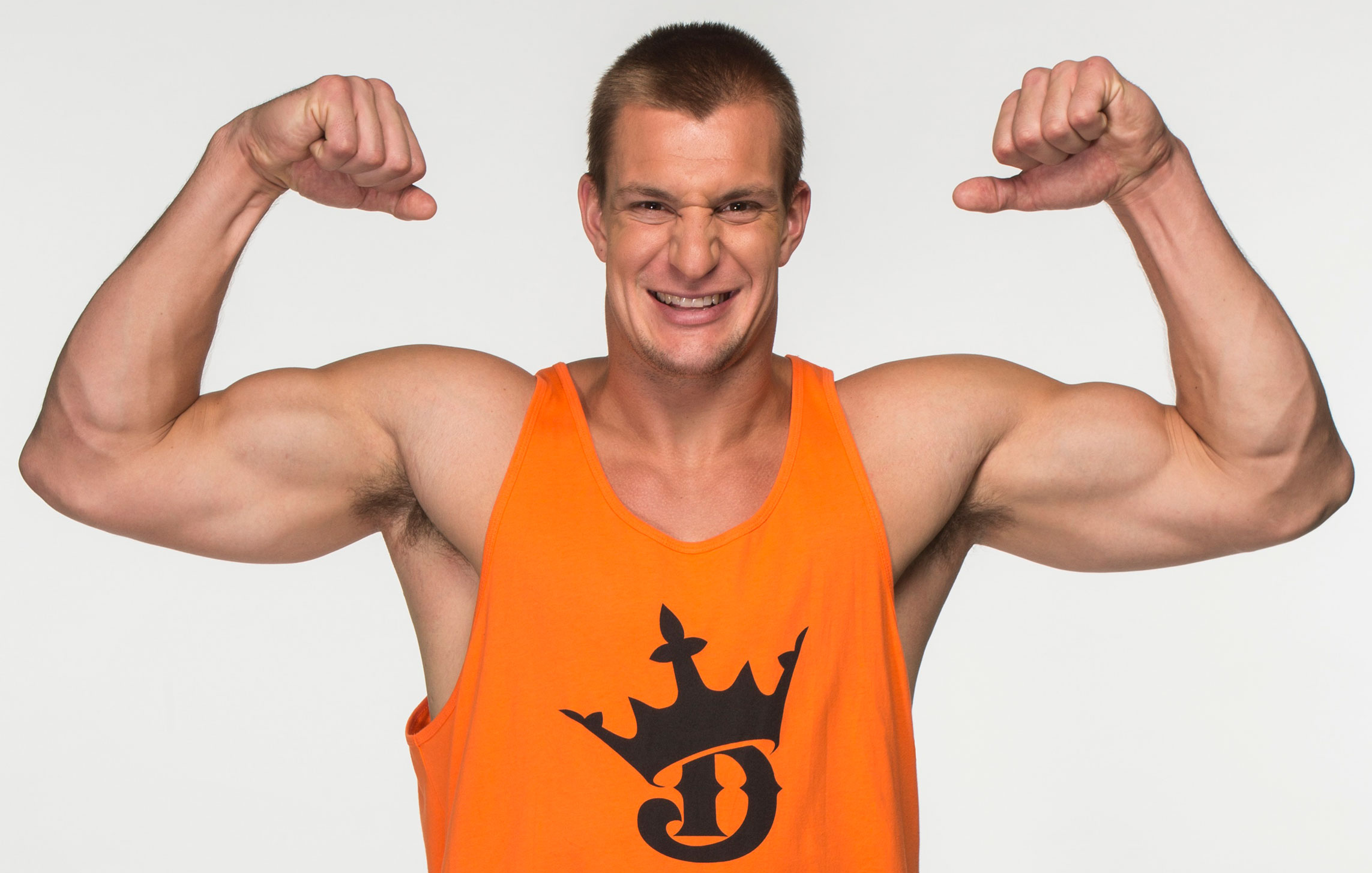 Rob Gronkowski of the New England Patriots poses for an advertisement for DraftKings