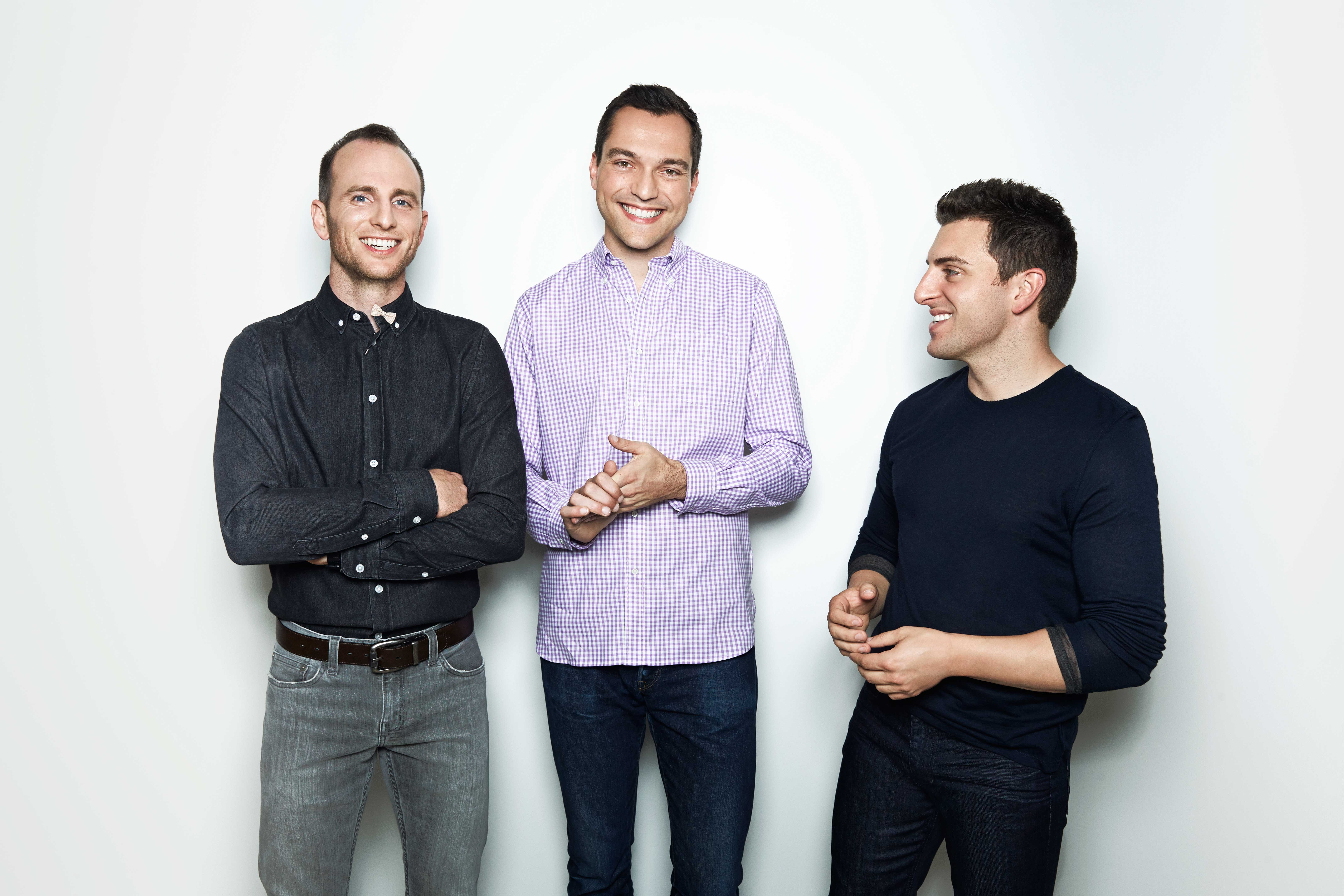 Co-founders, Joe Gebbia, CPO, left, Nathan Blecharczyk, CTO, Brian Chesky, CEO.