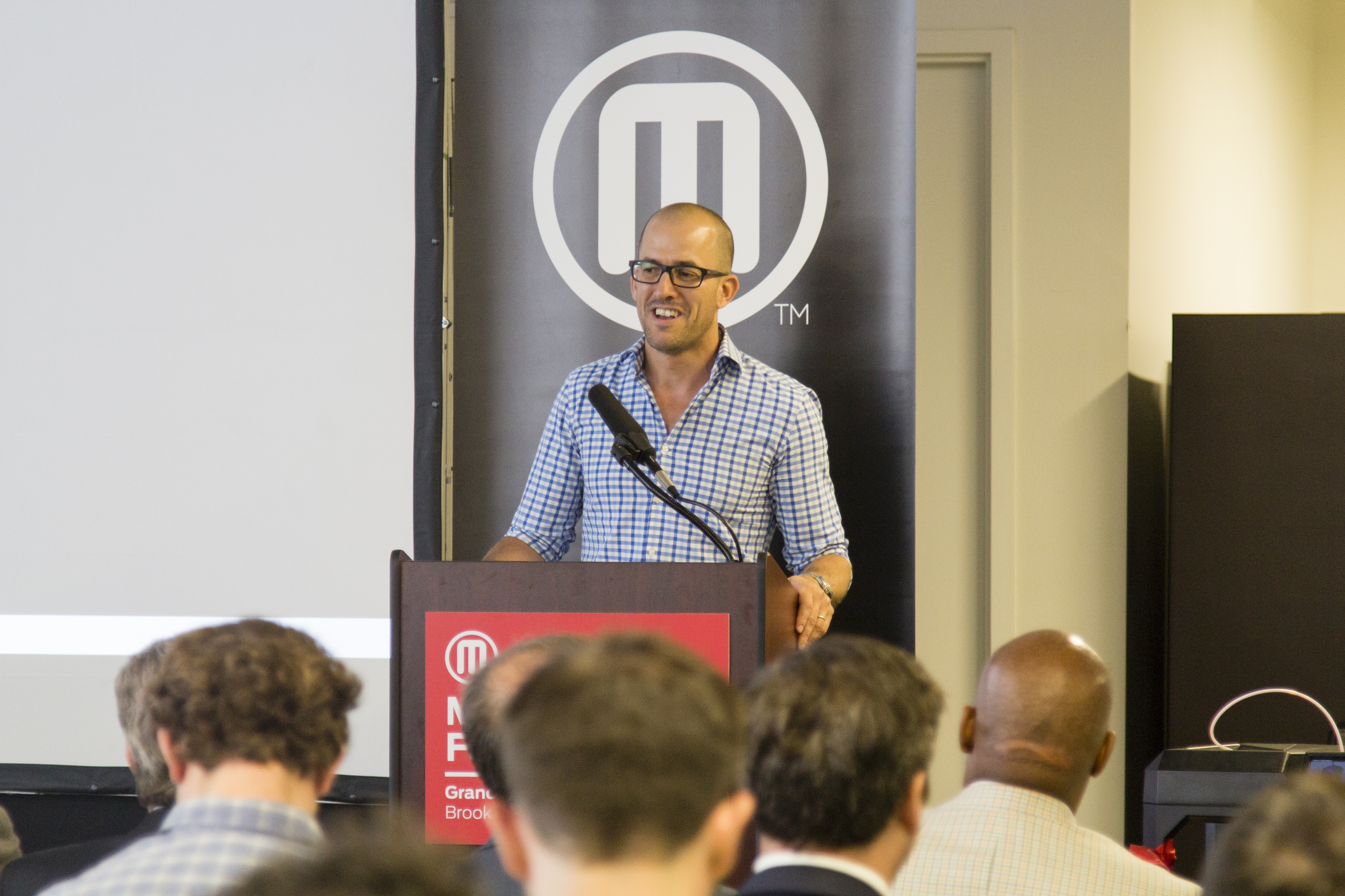 Jonathan Jaglom at MakerBot's new factory opening in Brooklyn in July.