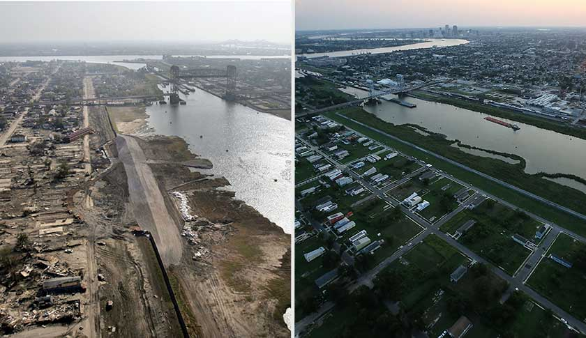 The Lower Ninth Ward in New Orleans, Louisiana in 2005 after Hurricane Katrina, left and in 2015.