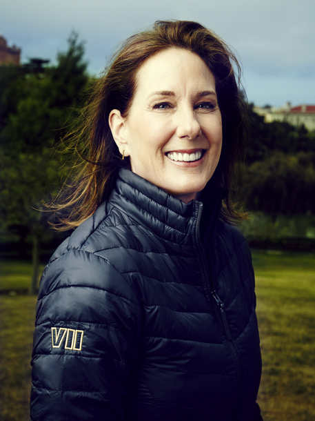 Kathleen Kennedy photographed in Star Wars Episode VII jacket at Lucasfilm. August 2015.