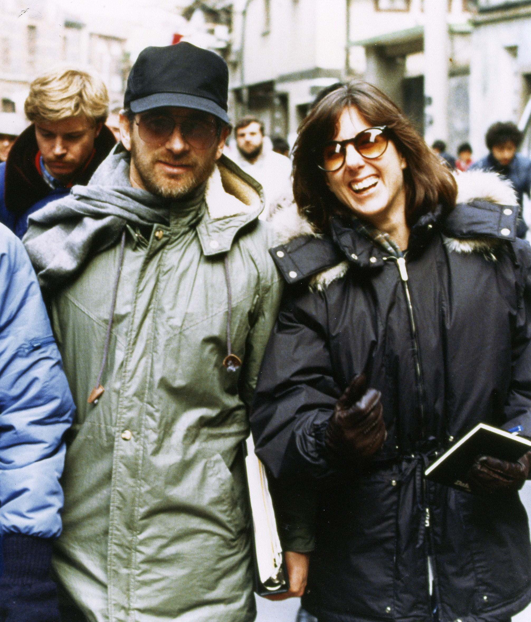 Kennedy with Steven Spielberg during the filming of Empire of the Sun.