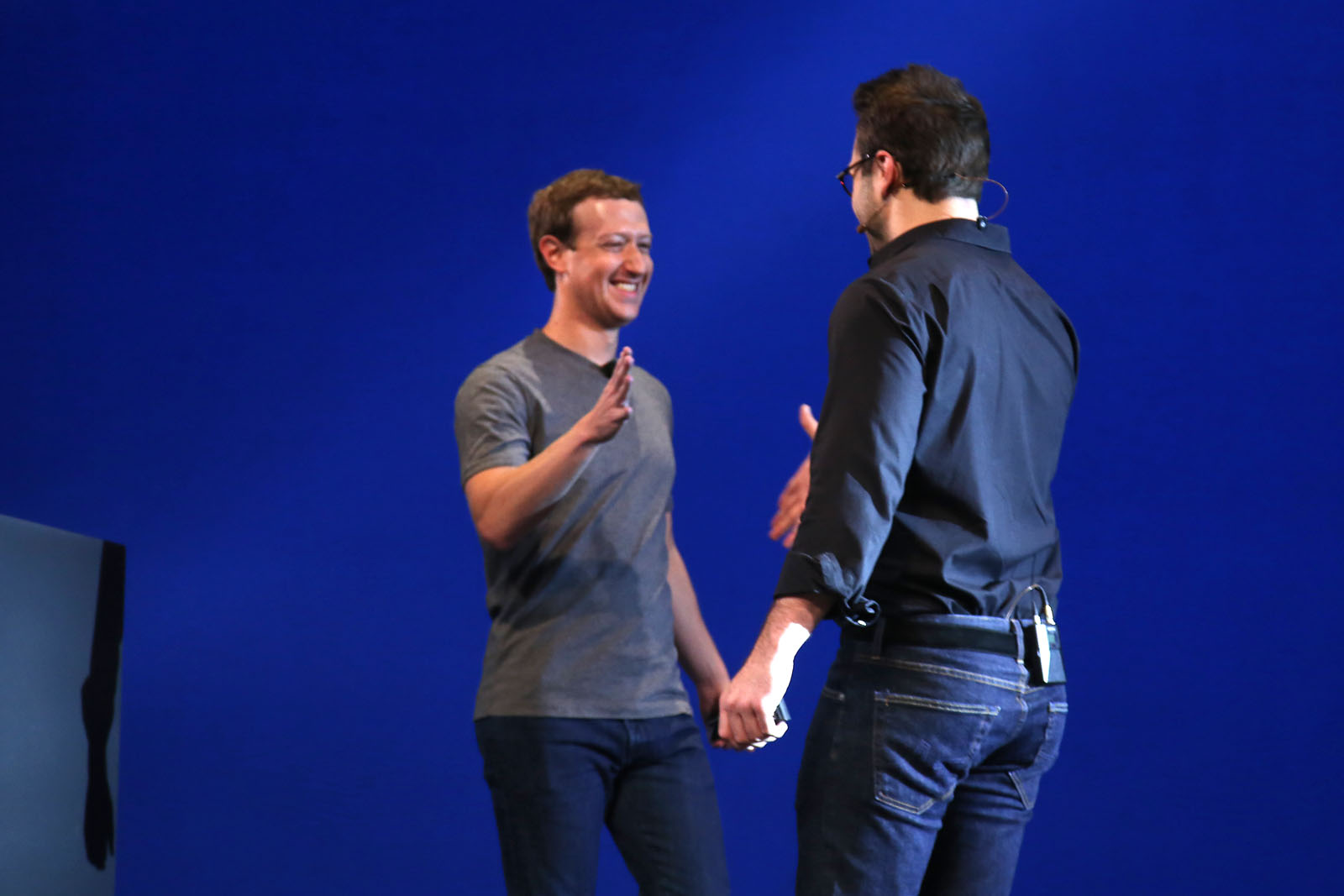 Mark Zuckerberg congratulates Oculus VR CEO Brendan Iribe at Oculus Connect.