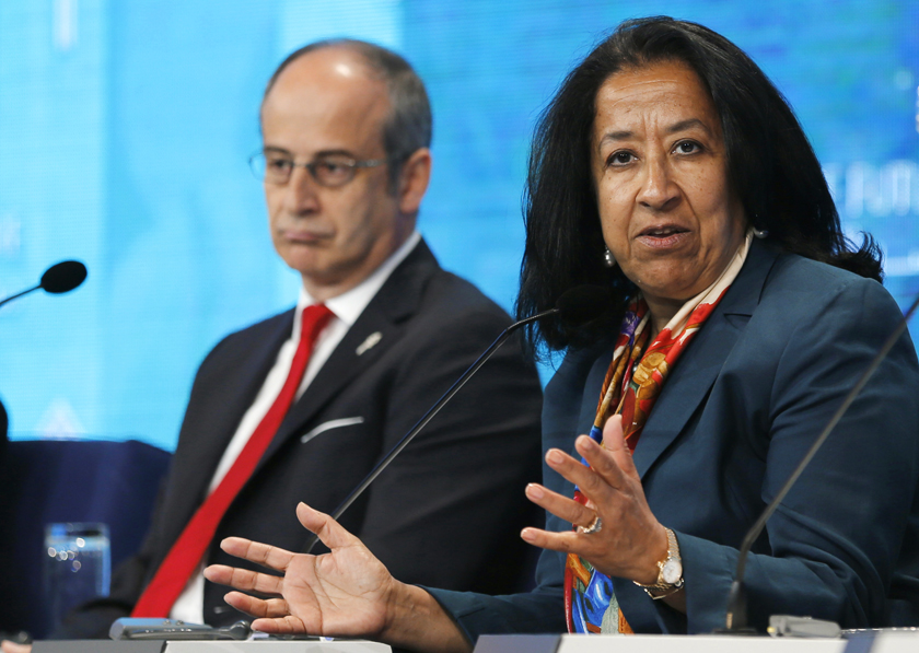 Saudi business woman Lubna Olayan speaks during the Egypt Economic Development Conference (EEDC) in Sharm el-Sheikh, in the South Sinai