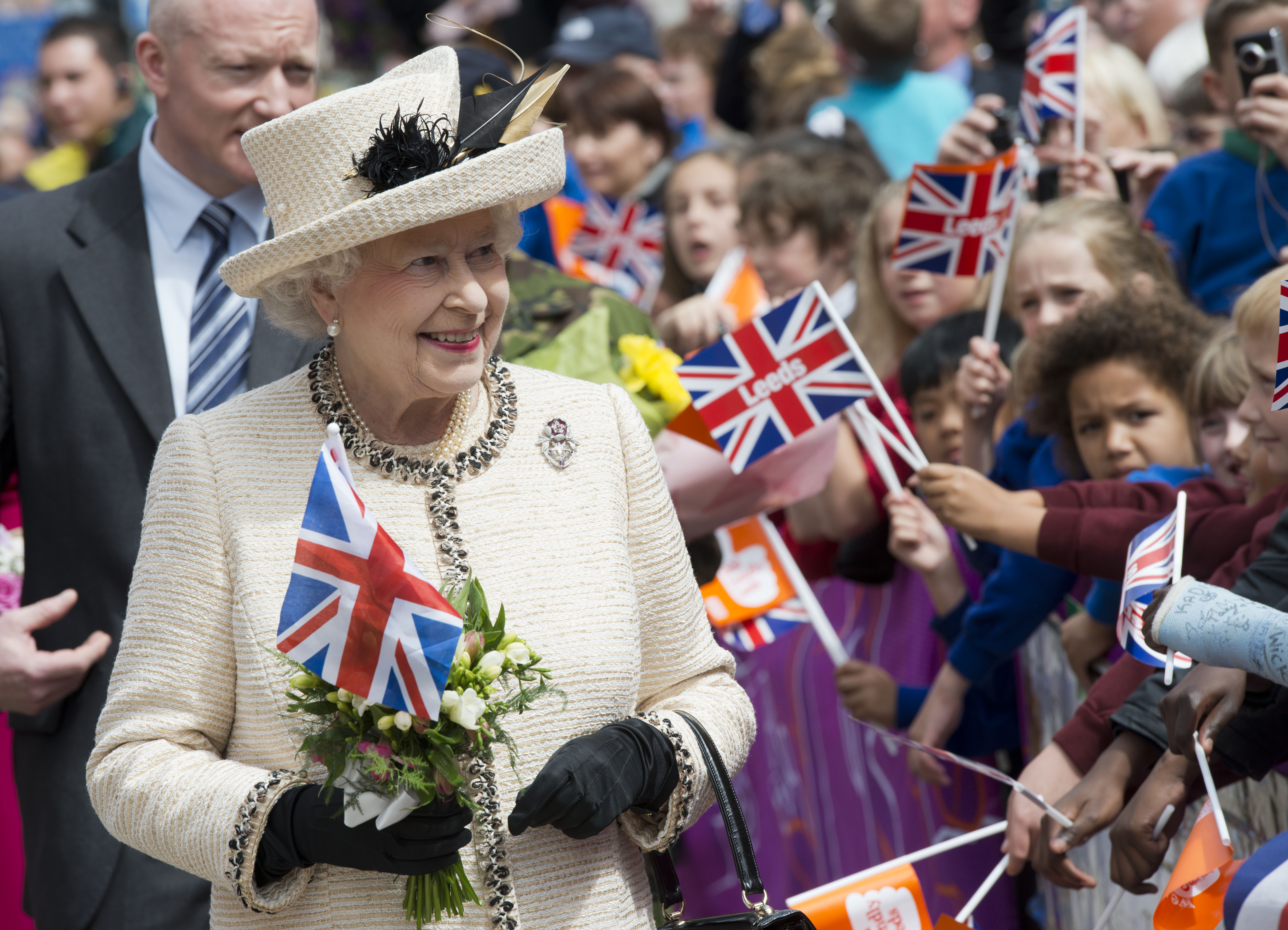 Britain's Queen Elizabeth II is greeted
