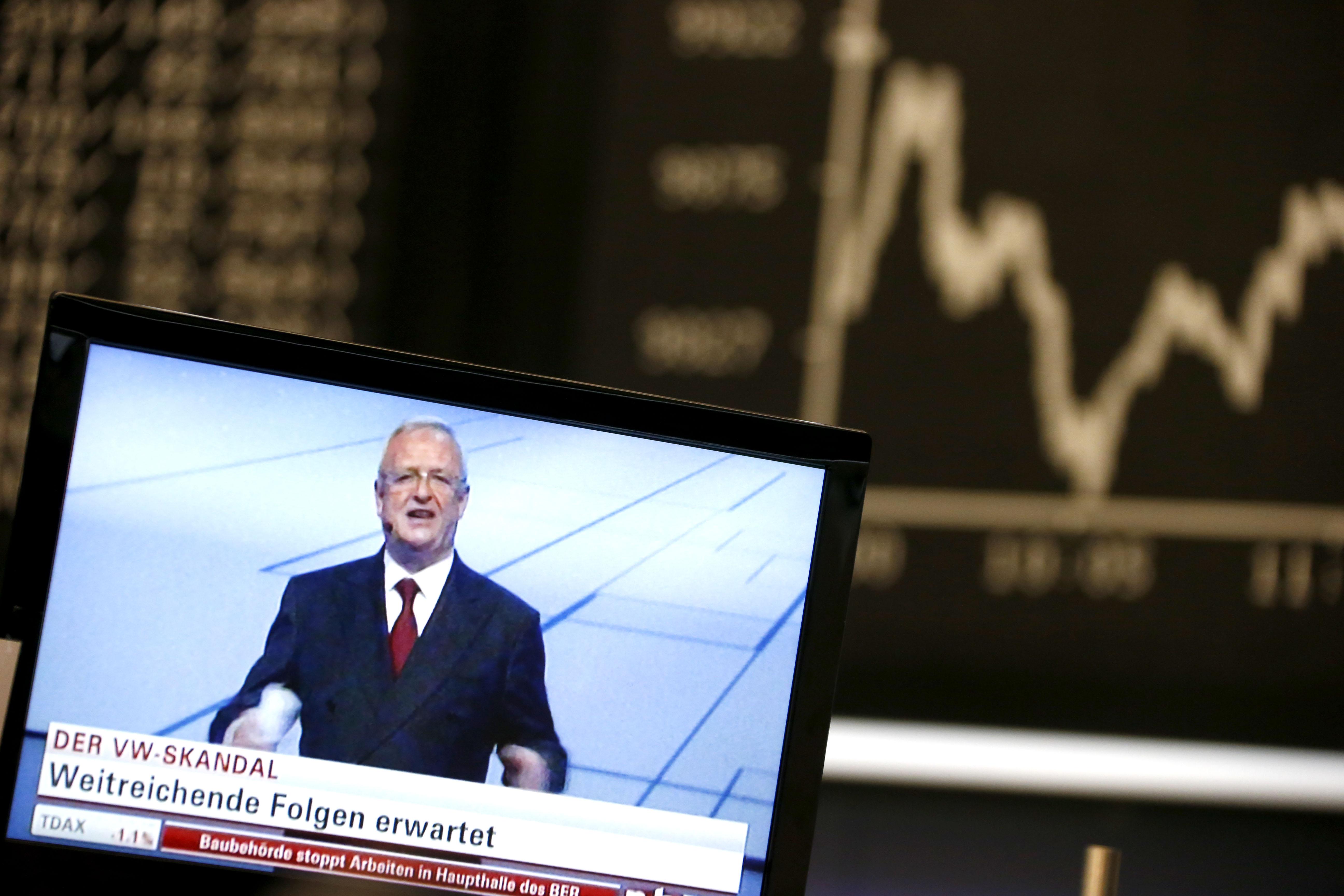 Winterkon CEO of Volkswagen appears onTV in front of German DAX board at stock exchange in Frankfurt