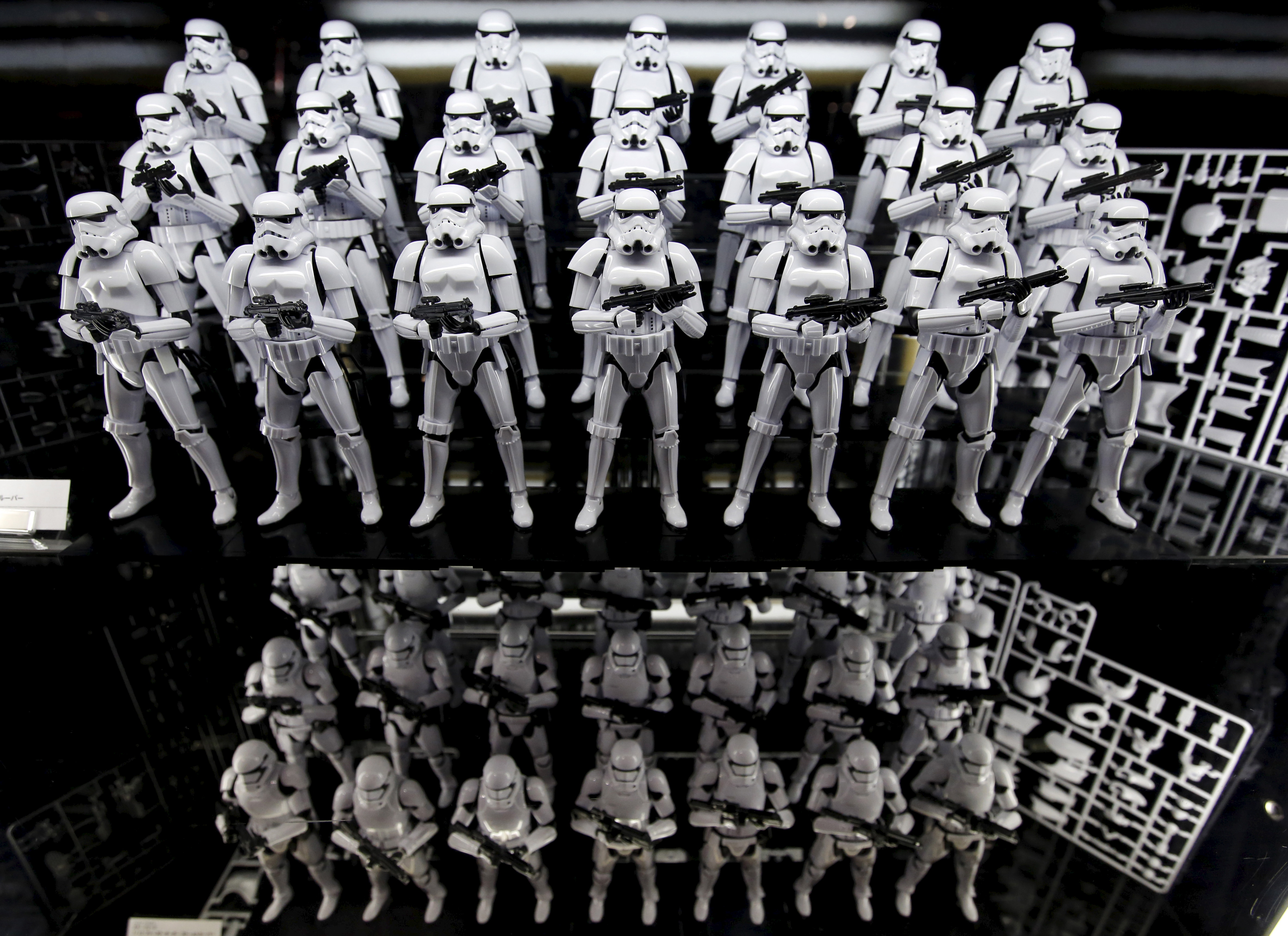 """Figure models called First Order's Stormtrooper from the film """"Star Wars"""" are displayed at Loft Variety Store in Shibuya shopping district in Tokyo"""