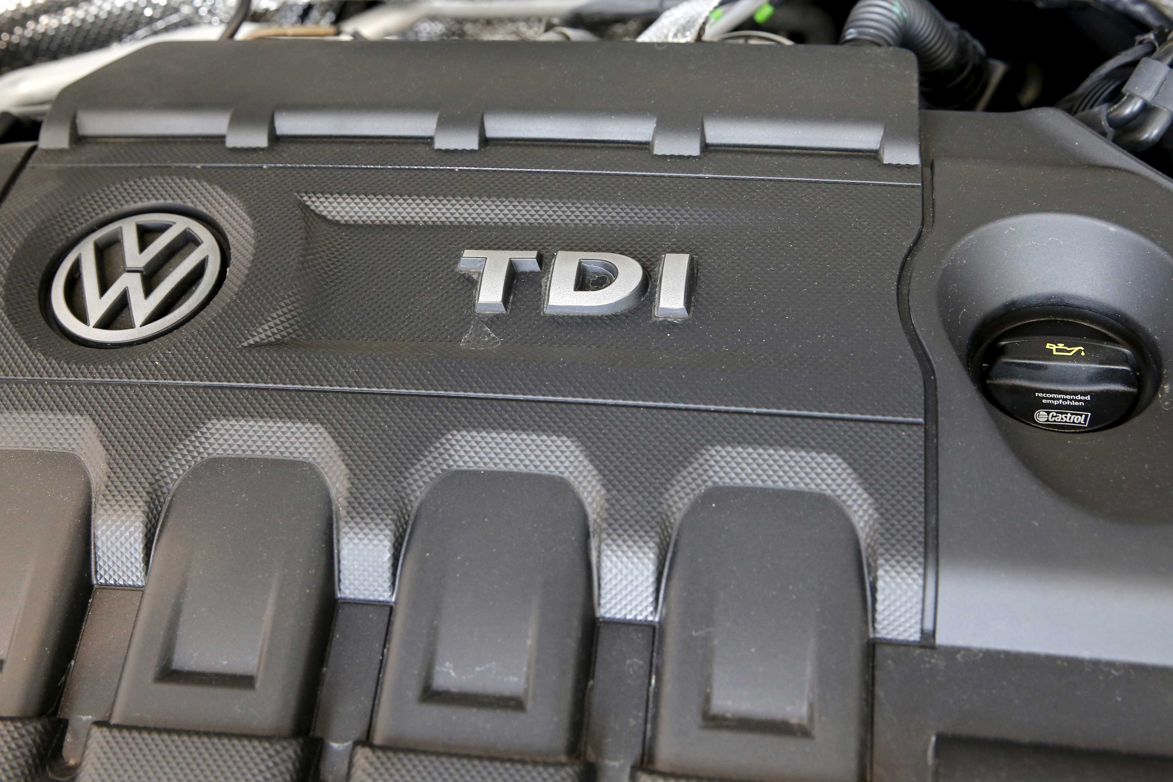 The engine of a Volkswagen 2015 Jetta TDI is seen at a VW dealership in the Queens borough of New York