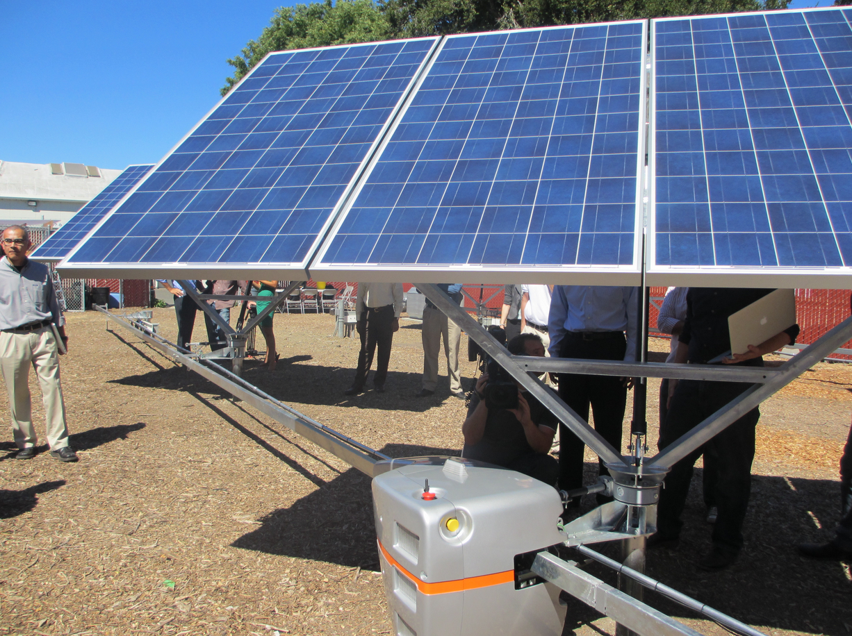 Robotic solar tracking technology from startup QBotix, which ceased operations August 2015.