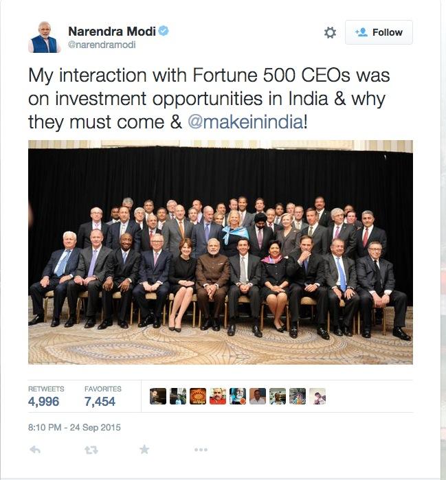 India's Prime Minister Narendra Modi (center) with Fortune 500 CEOs.